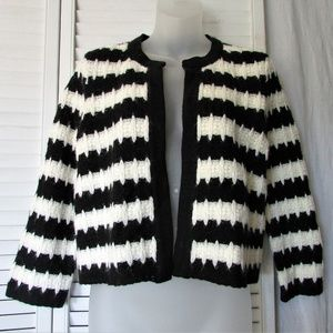 INC cream black stripe acrylic wool crop jacket M